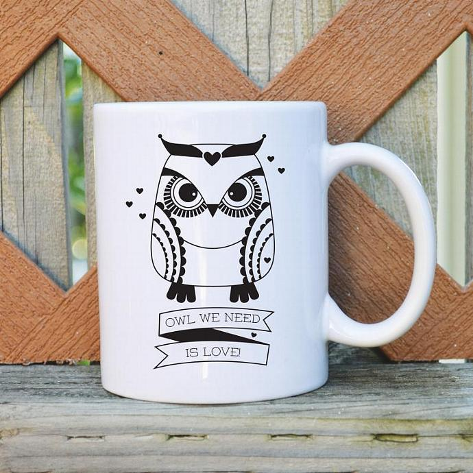 Owl We Need is Love  - 11 oz. Coffee Mug - Tickled Teal
