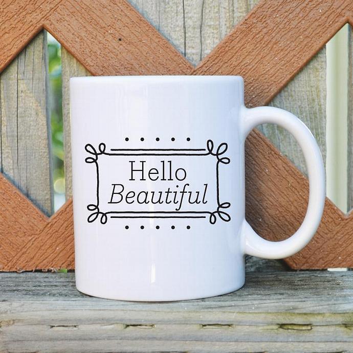 Hello Beautiful  - 11 oz. Coffee Mug - Tickled Teal