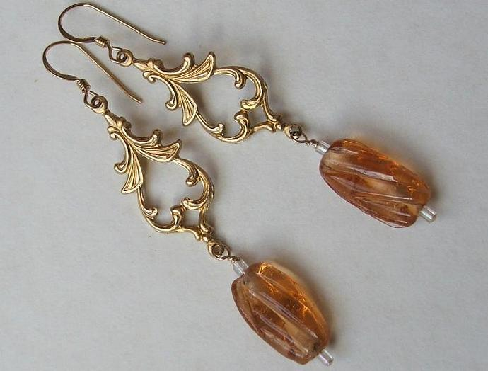 Vintage Oriental Drop Earrings with Peach Glass Beads