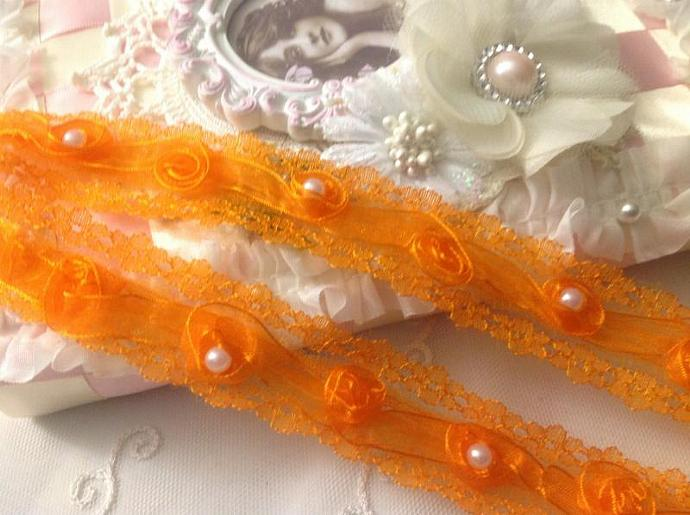 SALE- ORANGE Shabby Chic Ribbon Rosettes Lace Trim with Pearls- 1 yard for