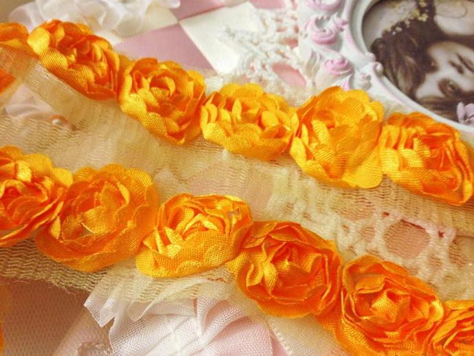 Orange Yellow Satin Shabby Rose Rosette Trim  for Headbands, Scrap booking,