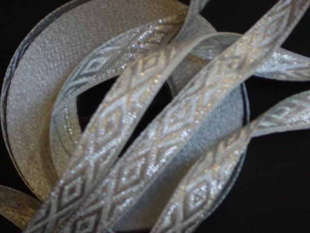 3 yd Jacquard woven Ribbon Silver Metallic Diamonds Wedding Favors