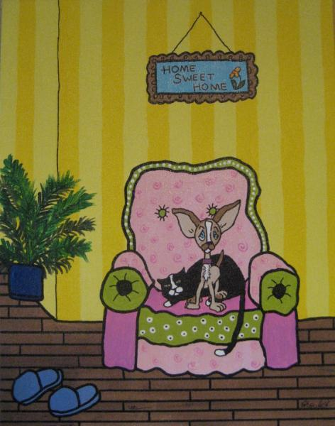 Original whimsy folk art tuxedo Cat and Chihuahua dog home sweet home 11x14