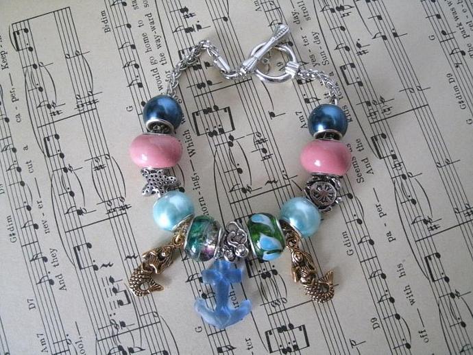 Mermaid Charm Bracelet, rockabilly jewelry steampunk jewelry boho jewelry