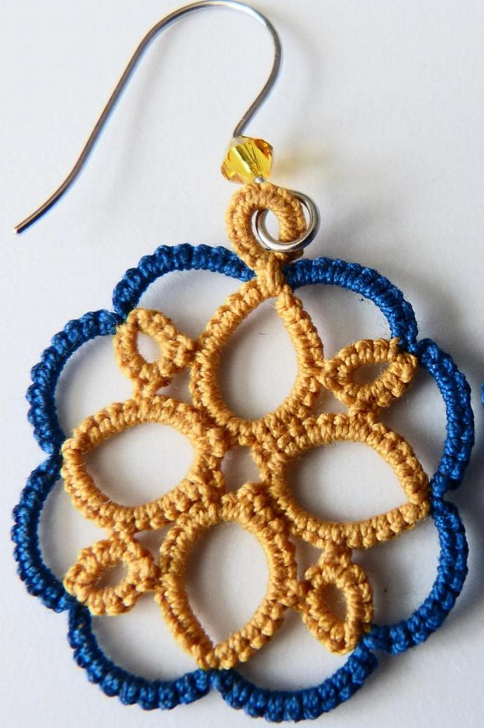 Blue and Gold  Tatted Earrings