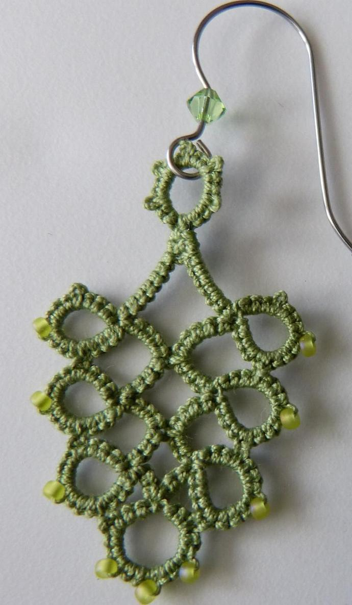 Beaded Pea Green Tatted Earrings