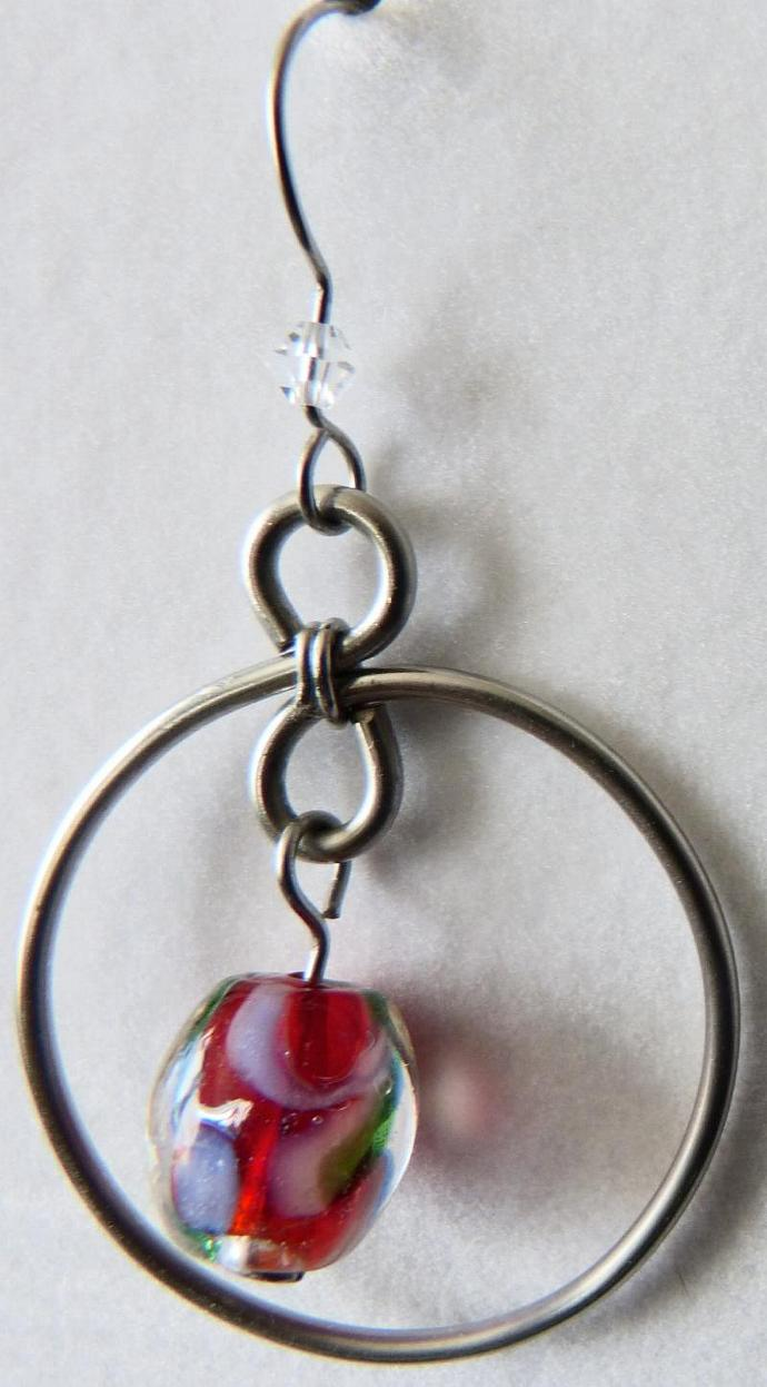 Stainless Hoops with Large Bead Center
