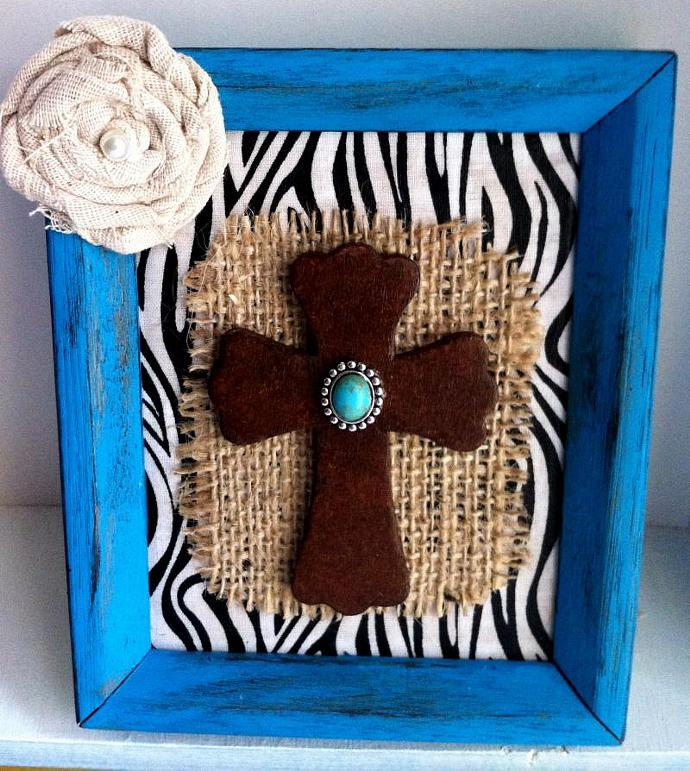Repurposed Frame Faux Leather Cross Burlap Zebra Print Shabby Flower Home Decor