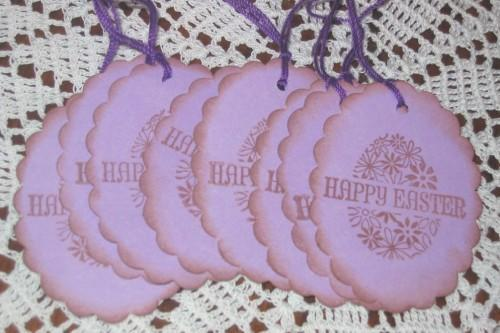 Happy Easter Egg Purple Hang Tags
