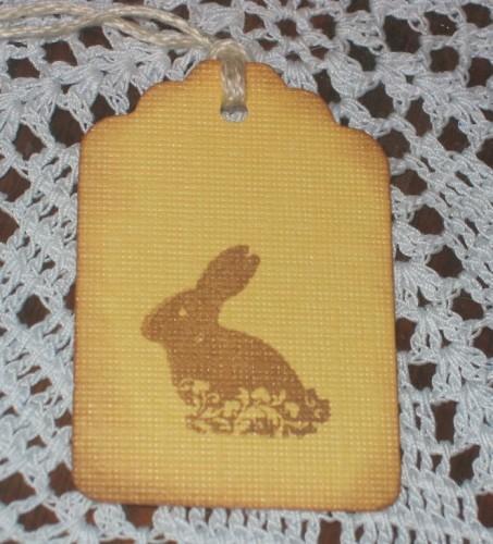 Chocolate Easter Bunny Yellow Hang Tags