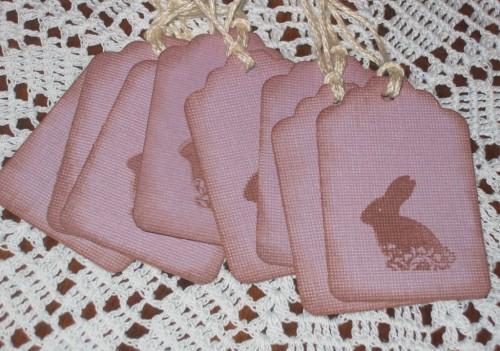 Chocolate Easter Bunny Plum Purple Hang Tags