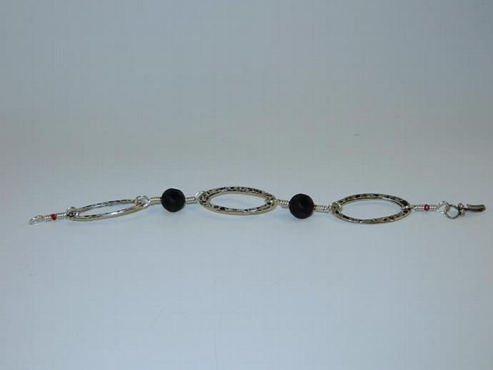 Black Onyx and Pewter Bracelet