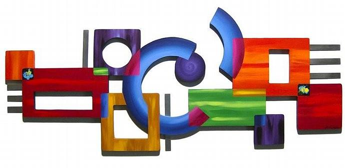 New Contemporary Modern Abstract Art Wood Wall Sculpture Hanging with Metal