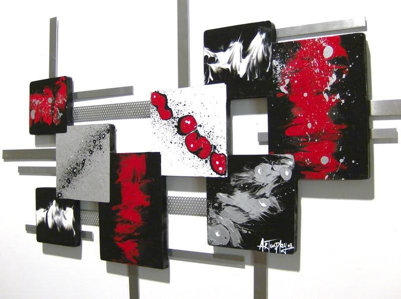 New Red Black White Modern Square Abstract Art By