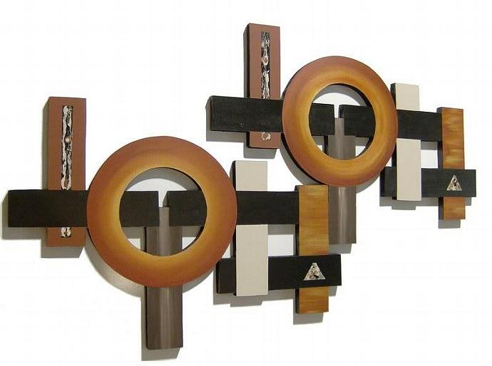 NEW 2pc CONTEMPORARY GEOMETRIC ART WALL SCULPTURE OVER 5FT