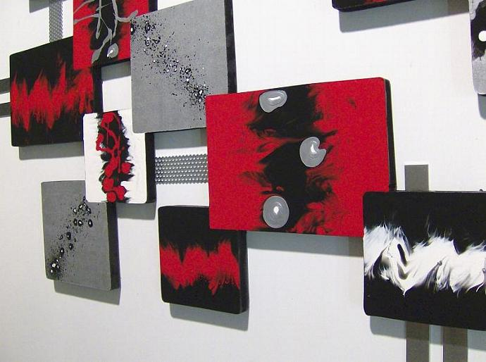 Contemporary, Modern hot Red, black, metallic silver, Abstract Art designs,