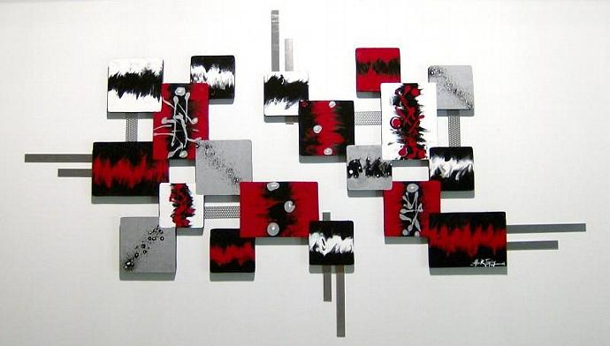 New 2pc Red Black Silver and White Contemporary Modern Abstract Square wood and