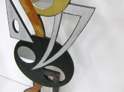 New Contemporary Modern Abstract Art wood and metal Odyssey Floor Sculpture,