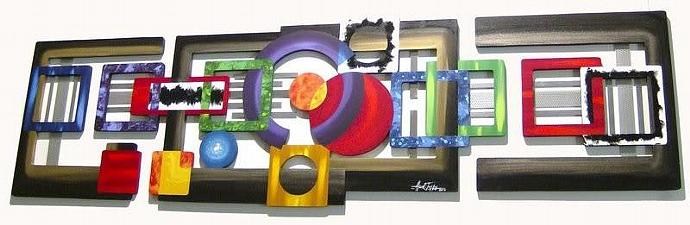 Galaxy of Geometric Abstract Wood Metal LARGE Mind's Eye Wall Sculpture, Wall