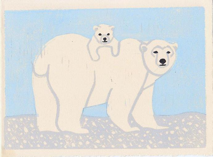 POLAR BEARS Original Linocut 5 x 7 Wood Block Illustration Art Print