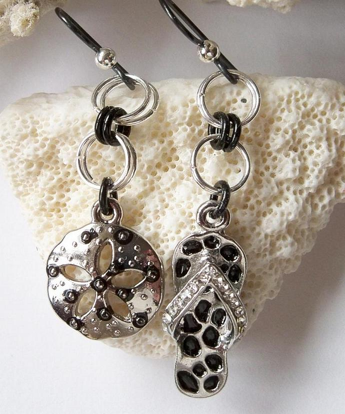 Sandals and Sand Dollar Charm Earrings