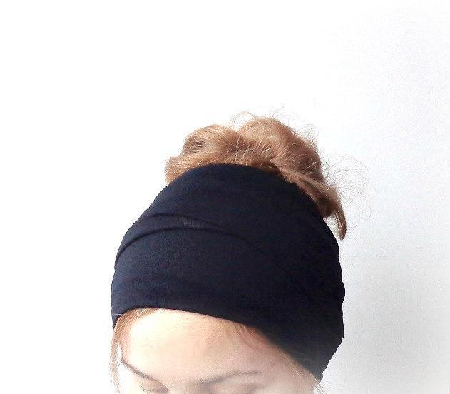 black head scarf jersey extra long head wrap head band hair loss head cover