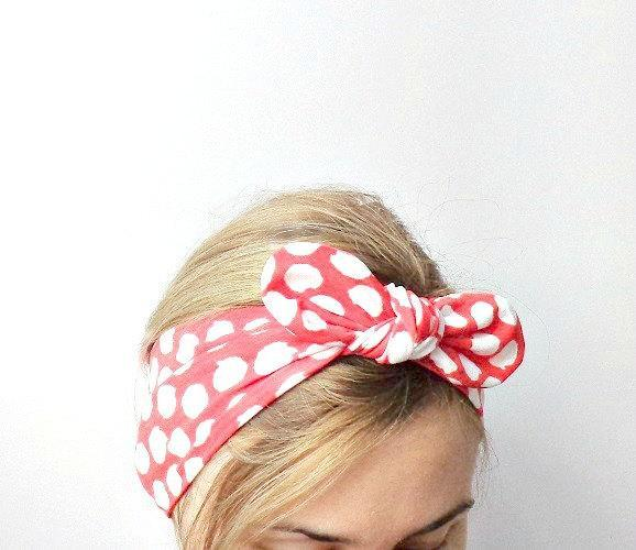 rosie the riveter tie up headband dolly bow rockabilly bandana wrap red white