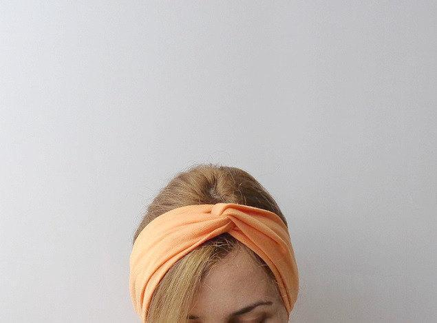 Turban head wrap orange tangerine twist headband peach tropical hair wrap
