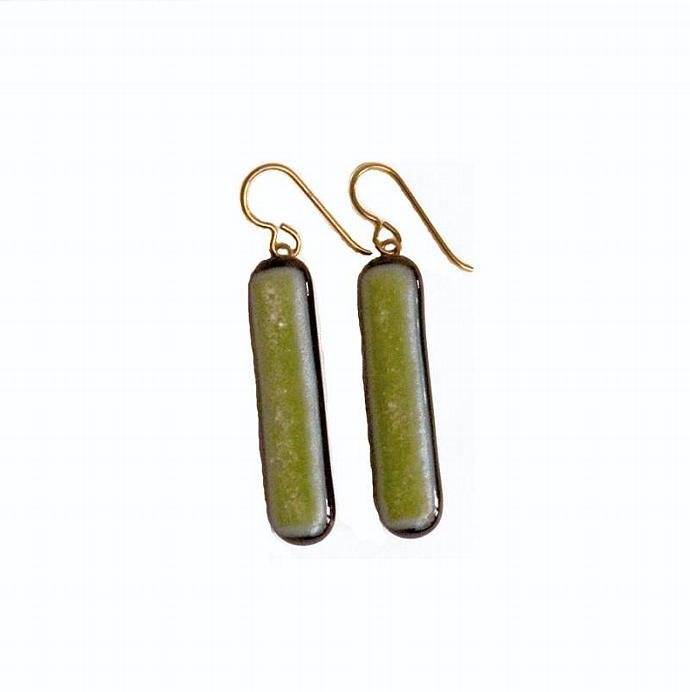 Earrings, Lime Green Sparkle Art Glass, Long Dangles with Golden Niobium French