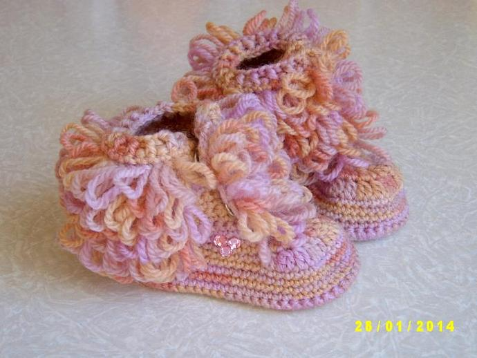 Crochet Baby Booties with pink pastes Rainbow Baby Booties Baby Shoes