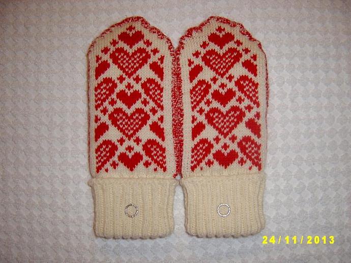 Merino wool double mittens