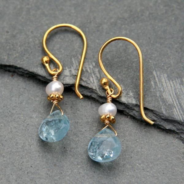 Aquamarine Drop, Pearl and Gold Earrings