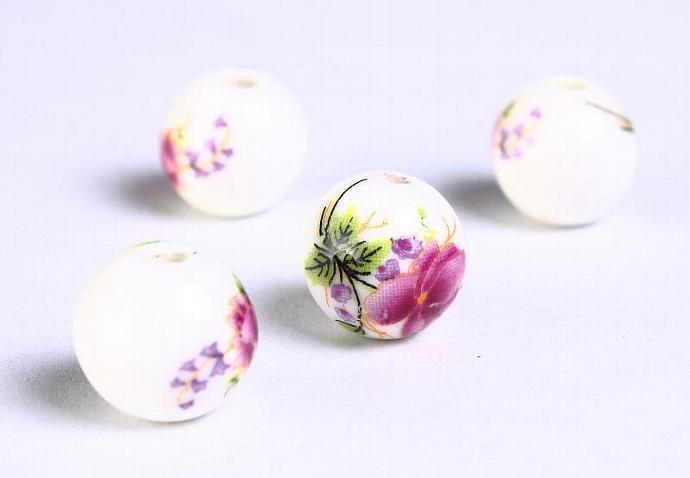 6 Purple green flower porcelain round bead 6pcs 12mm (907)