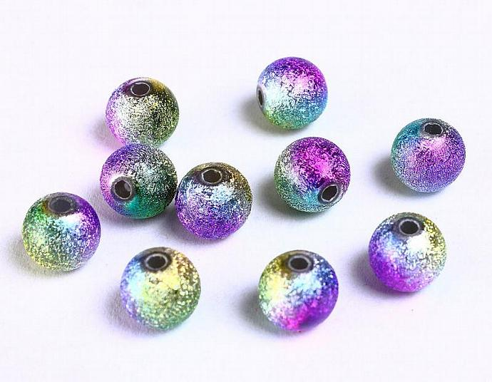10pcs 8mm purple pink green yellow multicolor stardust round acrylic beads 10