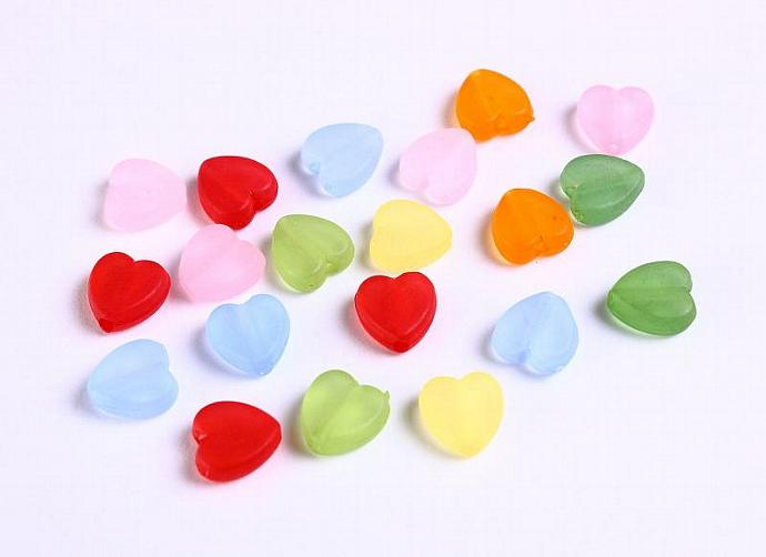 20pc Lucite heart resin beads mixed color 9mm (961)