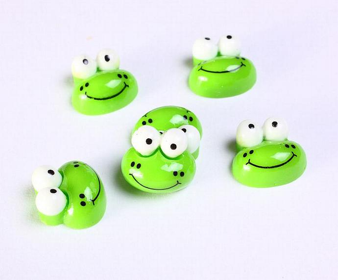 6 Green frog resin cabochon 12mm 6pcs (1150)