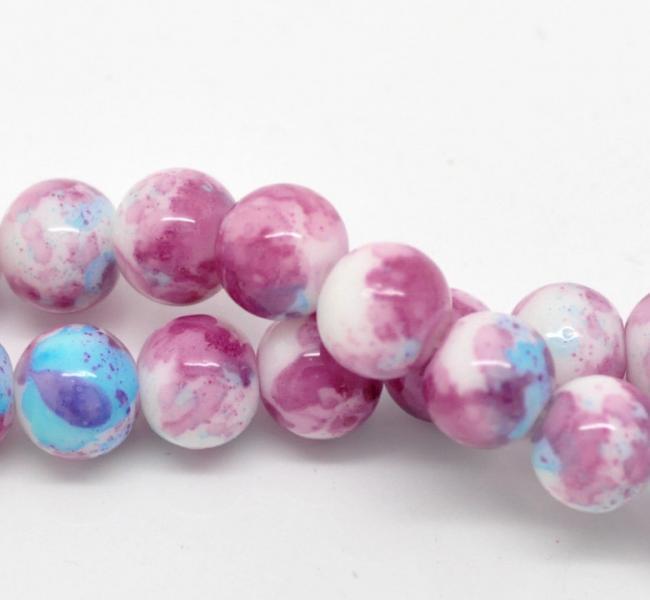 10mm Purple pink blue round mottled glass beads 10pcs (1134)