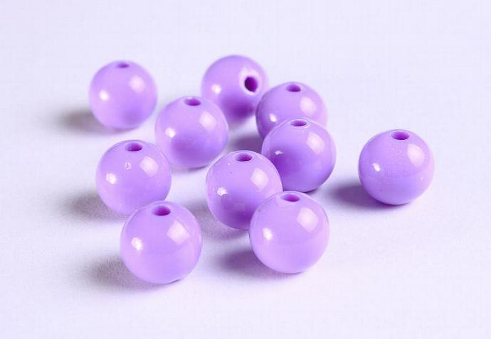10mm Purple acrylic round lucite bead 10pcs (1122)