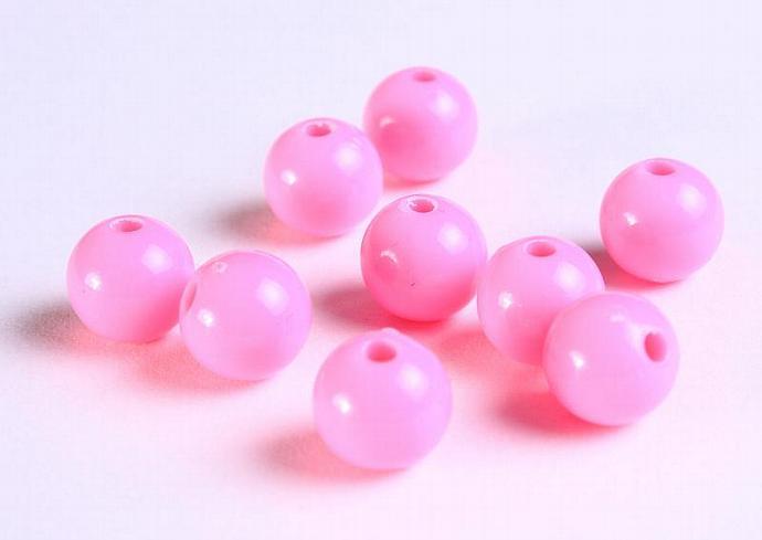 10mm Pink acrylic round lucite bead 10pcs (1123)