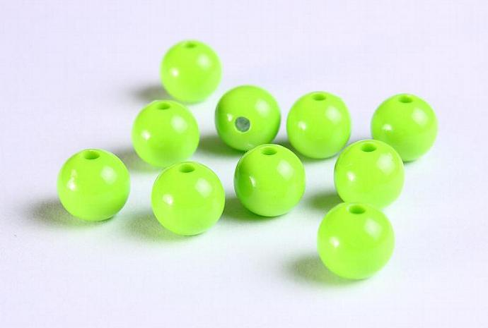 10mm Green acrylic round lucite bead 10pcs (1124)