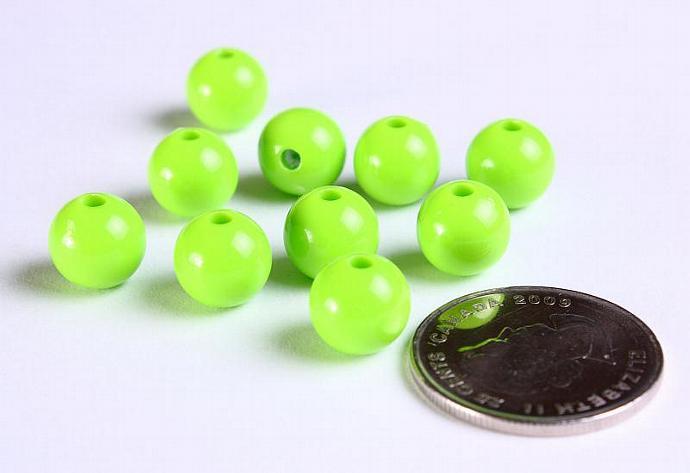 10mm Green acrylic round lucite bead 10pcs (1124)