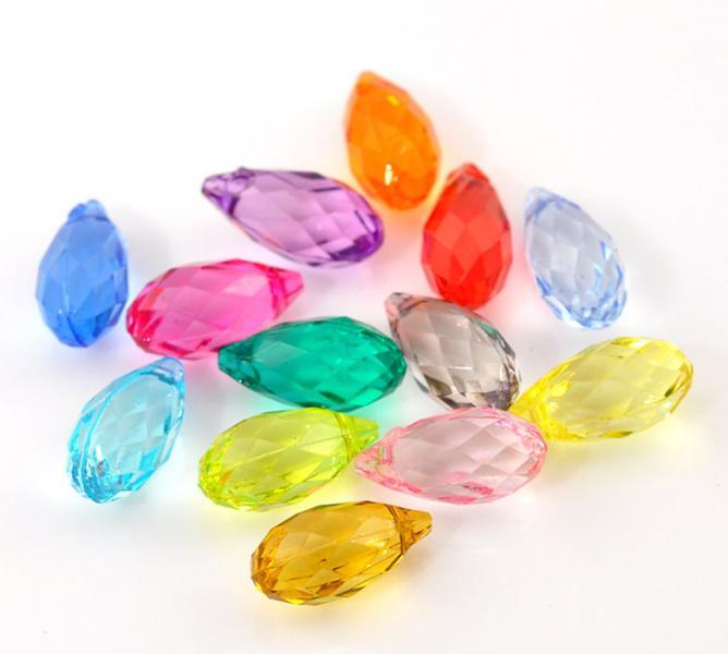 100 mixed color faceted teardrop acrylic beads 12mm x 6mm 100 pieces (1130)