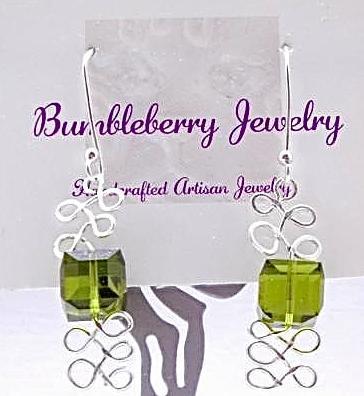 Swarovski Earrings, Olive Green Crystal Cube & Sterling Silver Dangle Earrings,