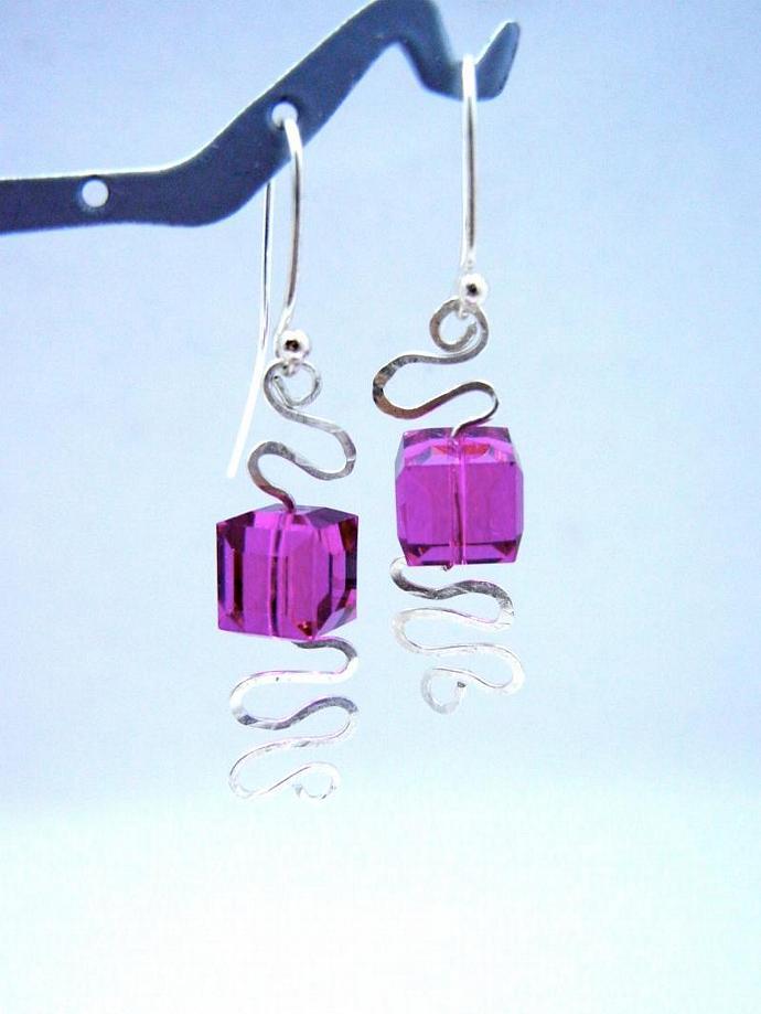 Swarovski Earrings, Fuchsia Crystal Cube & Sterling Silver Dangle Earrings,
