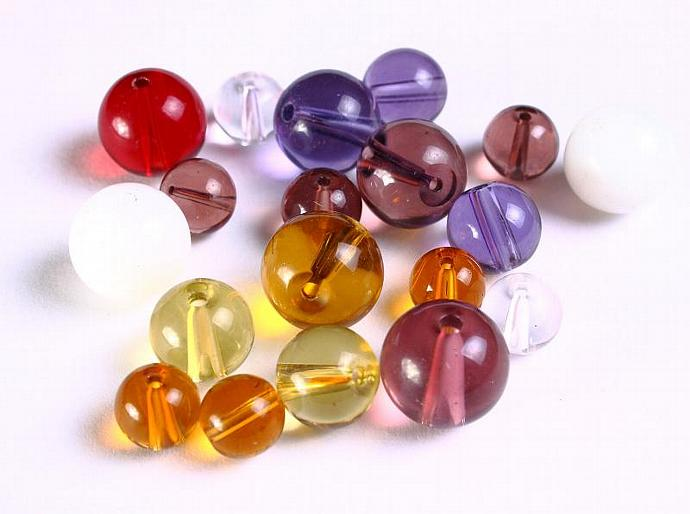 15 mixed color round glass bead 15pcs (1104)