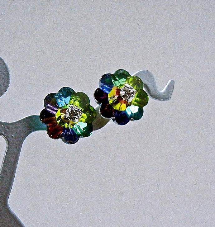 Vintage Margarite Swarovski Crystal Earrings Stud Earrings.  Bumbleberry Jewelry