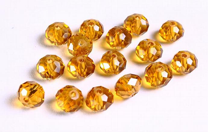 16 8x6mm honey yellow ochre transparent faceted abacus glass rondelle beads