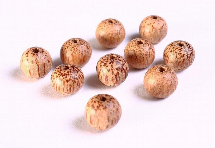 10 Handmade brown round wood beads 10mm 10pcs (1081)