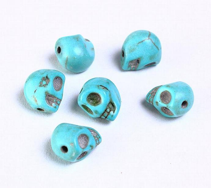6pcs 10mm Turquoise skull beads gemstone bead 6 (937)