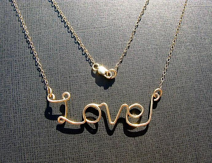 Gold LOVE Necklace,14k Gold Filled, Wire Writing, Valentines Day, Personalized